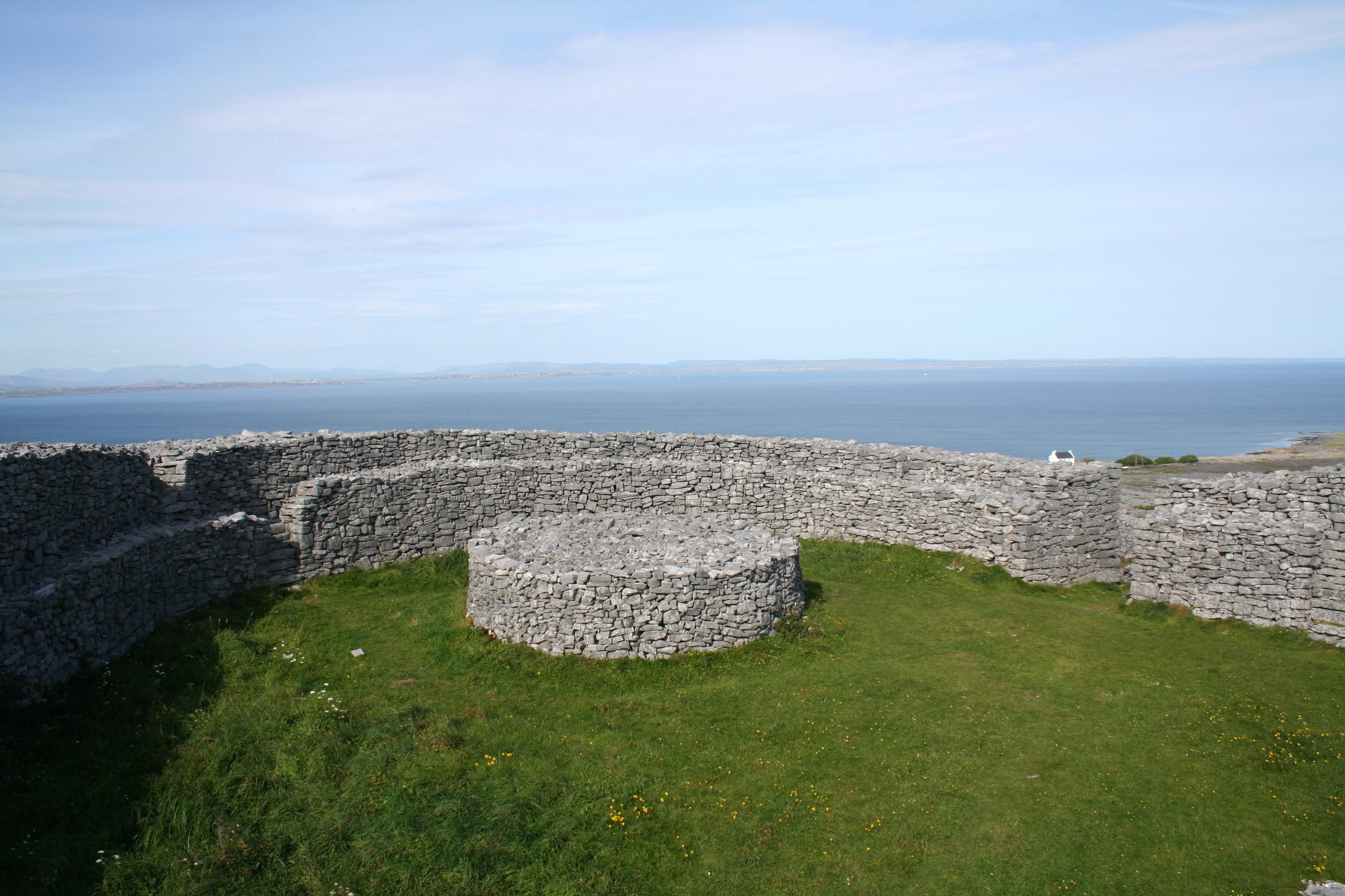 Stacked stone walls of ancient Irish ringfort