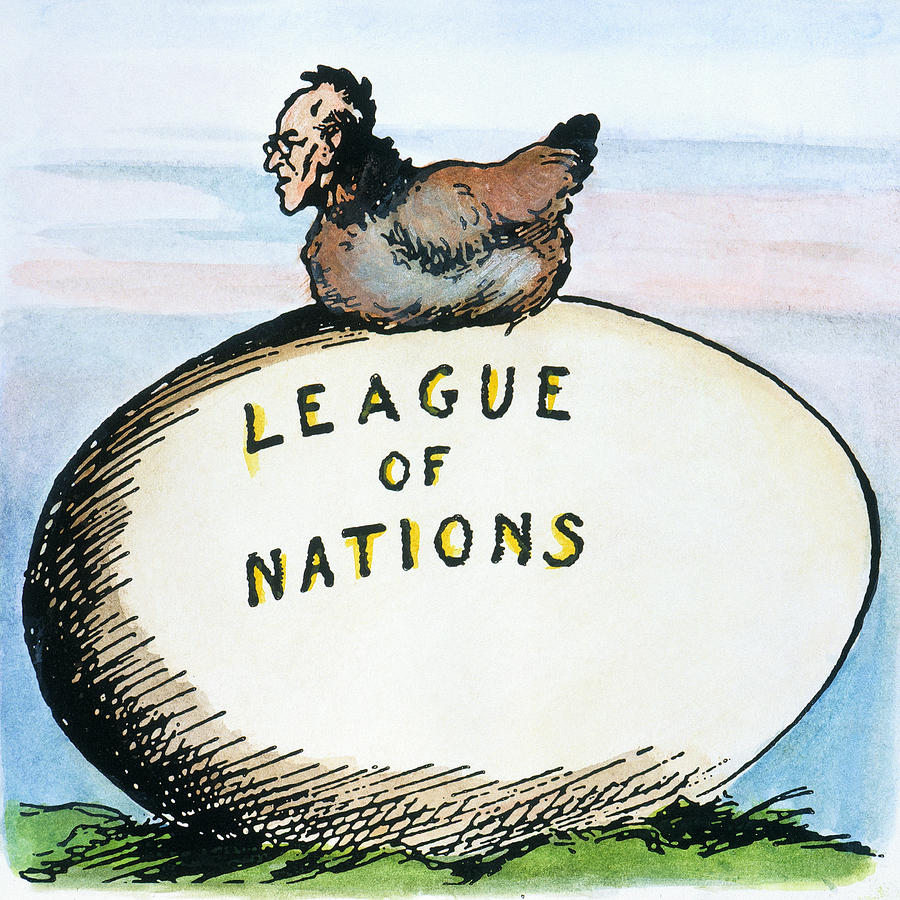 Cartoon of Woodrow Wilson hatching the League of Nations